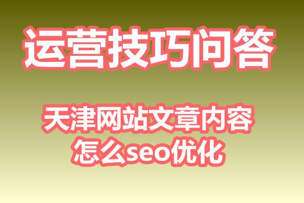 天津网站文章内容怎么seo优化?